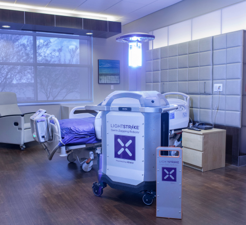 LightStrike Germ-Zapping Robots emit high intensity bursts of broad spectrum UV light proven to deactivate SARS-CoV-2, the virus that causes COVID-19, in 2 minutes. Utilizing a pulsed xenon lamp, the robot quickly and effectively destroys viruses and bacteria where they are most vulnerable without damaging surfaces or materials. (Photo: Business Wire)