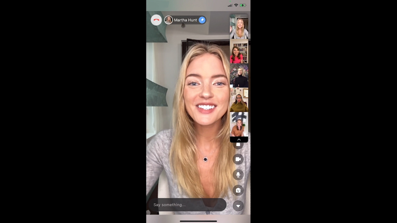 """Model Martha Hunt uses Verishop's """"Shop Party"""" to go shopping with her friends online on her phone. Browse, hang out and check out in one place with the Verishop iOS app."""