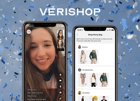 """For the first time ever, consumers can hang out and shop with their friends online, in one place, with Verishop. In the new iOS app feature called """"Shop Party,"""" users can hang out over video chat, explore products and shoppable content, see what others are browsing to shop together, and checkout with Verishop's best-in-class commerce experience. (Graphic: Business Wire)"""