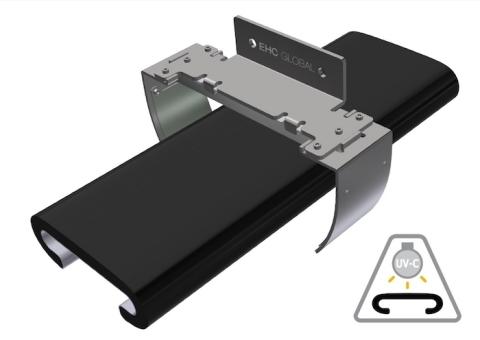 Lo sterilizzatore per corrimani Safety+ di EHC con tecnologia Violeds di Seoul Viosys (Grafica: Business Wire)