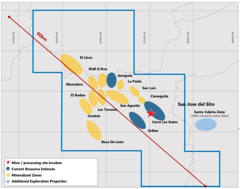 Figure 2 – Mineral Discoveries within the Los Gatos District (District Boundary Outlined in Blue) (Graphic: Business Wire)