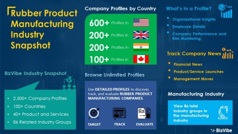 Snapshot of BizVibe's rubber product manufacturing industry group and product categories. (Graphic: Business Wire)