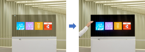 [At left] Sensor unable to detect the operator's hand [At right] Once the operator's hand has been detected, the integrated LC light control film dims the screen making it possible to display clear images (Graphic: Business Wire)