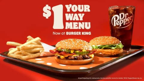 Burger King® is Depositing $1 in Venmo Accounts at Random to Announce New $1 Your Way Menu (Photo: Business Wire)