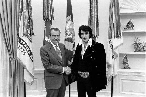President Richard Nixon and Elvis Presley in the White House, December 21, 1970. (Photo: Business Wire)