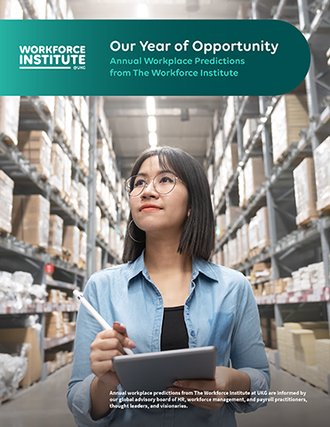 Annual workplace predictions from The Workforce Institute at UKG are informed by our global advisory board of HR, workforce management, and payroll practitioners, thought leaders, and visionaries.