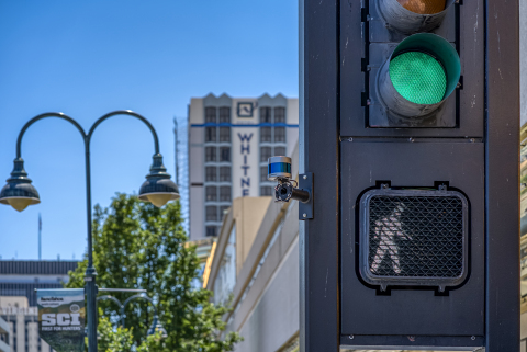 Smart city solutions can use Velodyne's lidar sensors to measure and monitor conditions in areas such as vehicle traffic, pedestrian safety, parking space management, speed measurement, V2X communications, queue and asset management, security and more. (Photo: Velodyne Lidar, Inc.)
