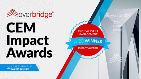 Everbridge Announces 2020 Critical Event Management (CEM) Impact Award Winners (Graphic: Business Wire)