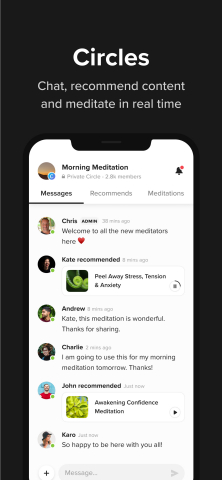 Meditators join Insight Circles to chat, share content and meditate together. (Graphic: Insight Timer)
