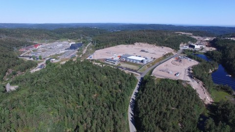 N01 Data Center Campus in south Norway. A 3 million sqm (740 acres) and up to 1 GigaWatt of IT power, N01 Campus has the ambition to become the world's largest data center campus powered by 100% renewable energy. On the left, Kristiansand Substation. (Photo: Business Wire)
