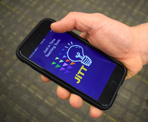 A user scrolls through Northwell's JiTT app, which is now available in the Apple Store. (Photo: Business Wire)