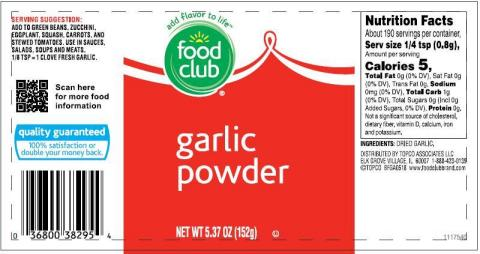 B&G Foods Issues Voluntary Allergy Alert on Undeclared Soy in a Limited Number of Containers of Food Club Garlic Powder that Incorrectly Contain Bacon-Flavored Bits (Photo: Business Wire)
