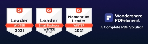 PDFelement named Leader by G2 Crowd in Winter 2021 (Photo: Business Wire)