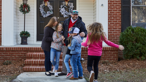 Home for the holidays! Purple Heart veteran Clint Myatt and his family celebrate after accepting the keys to their mortgage-free North Carolina home, donated by Wells Fargo. Wells Fargo supports Military Warriors Support Foundation's Home4WoundedHeroes program, which provides mortgage-free homes for wounded veterans and their families as well as financial mentorship to help ease the transition from military to civilian life. Since 2012, Wells Fargo has donated more than 400 homes valued at over $60 million to support veterans and their families in all 50 states. (Photo: Wells Fargo)