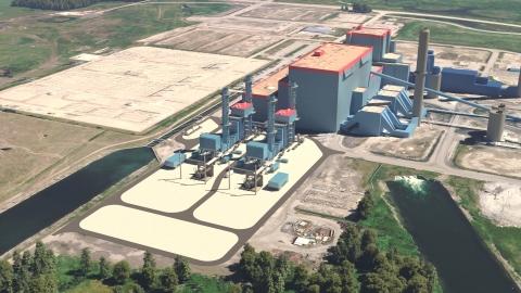 A Capital Power realizou o pedido de turbinas a gás M501JAC da Mitsubishi Power para realimentar as unidades 1 e 2 da estação Genesee de carvão para gás natural. A imagem apresenta turbinas a gás em primeiro plano. (Crédito: Capital Power)