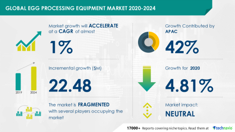Technavio has announced its latest market research report titled Global Egg Processing Equipment Market 2020-2024 (Graphic: Business Wire)