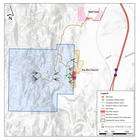 Figure 1. Kay Mine claims showing Phase 2 drill pads, with acquisition Property to the northeast (Graphic: Business Wire)