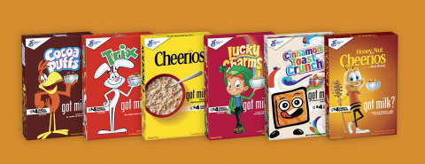 General Mills releases special edition boxes featuring characters with milk mustaches to highlight the benefits of cereal and milk. (Photo: Business Wire).
