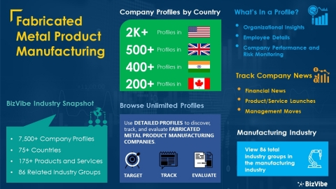 Snapshot of BizVibe's fabricated metal product manufacturing industry group and product categories. (Graphic: Business Wire)