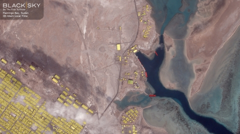 BlackSky is autonomously monitoring construction activity at the Flamingo Bay Naval Base in Port Sudan with the power of Spectra AI. Leveraging this powerful technology, BlackSky automatically flags new construction and monitors naval traffic into and out of the port, alerting its customers to important changes in near real-time. (Photo: Business Wire)