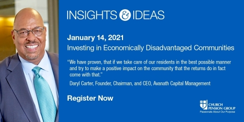 The Church Pension Group (CPG), a financial services organization that serves The Episcopal Church, announced that it will host a virtual conversation on investing in economically disadvantaged communities as part of its Insights & Ideas series of discussions on socially responsible investing. The event will take place on Thursday, January 14 from 12:15 to 1:30PM ET, and will feature a panel of experts on impact investing and diversity who will share ideas that have had an important impact on diverse communities while generating positive financial returns for investors. (Photo: Business Wire)