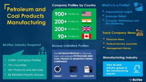 Snapshot of BizVibe's petroleum and coal products manufacturing industry group and product categories. (Graphic: Business Wire)