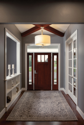 Therma-Tru introduces EnLiten flush-glazed privacy and textured glass to the Fiber-Classic Mahogany Collection of doors and sidelites in on-trend Shaker-style options (Photo: Business Wire)