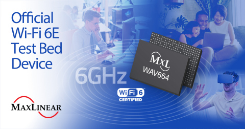 Wi-Fi Alliance® has selected the MaxLinear WAV664 as an official Wi-Fi 6E test bed device (Graphic: Business Wire)