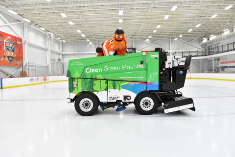 Flyers mascot Gritty poses with the team's new electric Zamboni ice resurfacer at Virtua Center Flyers Skate Zone in Voorhees, NJ. (Photo: Comcast Spectacor)