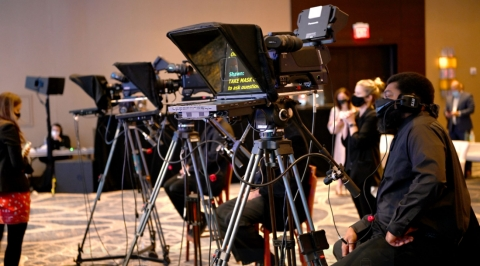 Equipment setup during Hilton Worldwide Sales event at Hilton McLean Tysons Corner. (Photo: Business Wire)
