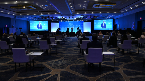 Socially responsible setup at Hilton McLean Tysons Corner for global Hilton Worldwide Sales hybrid event. (Photo: Business Wire)