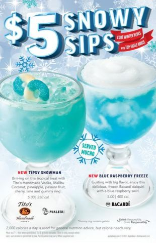 Applebee's is giving you something to cheers to with its latest Mucho cocktails, the NEW $5 Snowy Sips.  (Photo: Business Wire)