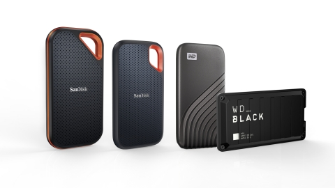 Western Digital's new 4TB portable SSD portfolio includes the SanDisk Extreme Pro Portable SSD, SanDisk Extreme Portable SSD, WD's My Passport SSD and the WD_Black P50 Game Drive SSD. (Photo: Business Wire)