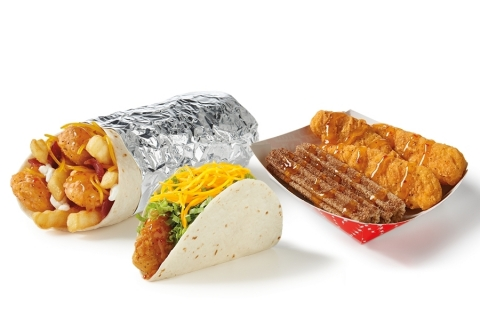 Del Taco launches three new ways to love Crispy Chicken with the flavor of honey and mango: the $1 Honey Mango Crispy Chicken Taco, the $4 Honey Mango 3 PC. Crispy Chicken & Churros Box and the $5 Epic Honey Mango Crispy Chicken & Bacon Burrito. (Photo: Business Wire)