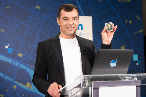 """During his annual """"Under the Hood"""" address at the all-virtual CES 2021, Prof. Amnon Shashua, president and CEO of Mobileye, shows off a new silicon photonics lidar SoC that will deliver frequency-modulated continuous wave (FMCW) lidar on a chip for autonomous vehicles beginning in 2025. (Credit: Mobileye, an Intel Company)"""