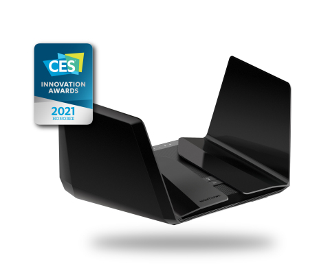 A CES 2021 Innovations Award Honoree, the Nighthawk RAXE500 Tri-band WiFi router is designed to provide the fastest WiFi speed possible with higher-capacity, lower latency, and the latest WPA3 security. (Graphic: Business Wire)