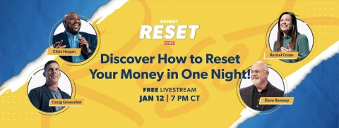 Tune into RESET Live to learn the proven plan that gets you small wins with your money to have real peace of mind. (Photo: Business Wire)