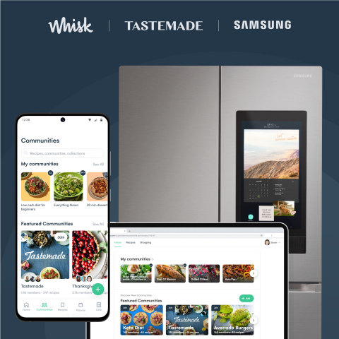 Whisk, the food technology platform that simplifies the food journey from recipe inspiration to meals on the table, today announces the addition of Tastemade, a modern media company that engages a global audience of more than 300 million monthly viewers and that creates award-winning lifestyle video content, to the Whisk Ecosystem, enabling shoppable recipes and Tastemade recipe content on the Samsung Family Hub line of refrigerators. (Graphic: Business Wire)