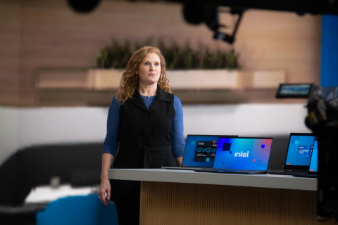"""Intel Vice President Stephanie Hallford, who leads Business Client Platforms, unveils at CES 2021 the new 11th Gen Intel Core vPro platform and Intel Evo vPro platform, delivering the highest performance and most comprehensive hardware-based security. As part of the all-virtual CES 2021, Intel makes clear that now is the time to """"Go and Do Something Wonderful."""" (Credit: Intel Corporation)"""