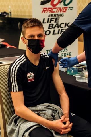 Tour de France 2020 winner Tadej Pogacar receives Covid-19 vaccine in Abu Dhabi, United Arab Emirates (Photo: AETOSWire)