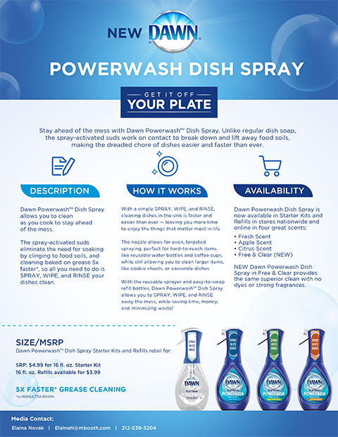 Dawn Powerwash Dish Spray allows you to clean as you cook to stay ahead of the mess. The spray-activated suds eliminate the need for soaking by clinging to food soils, and cleaning baked on grease 5x faster(3), so all you need to do is SPRAY, WIPE, and RINSE your dishes clean.