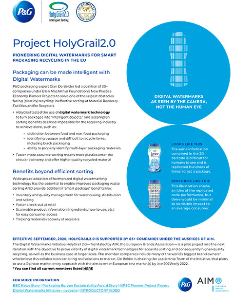 HolyGrail is a collaborative effort designed to solve one of the largest obstacles facing plastic recycling – inefficient sorting at recycling facilities.