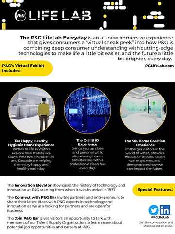 "The P&G LifeLab Everyday is an all-new immersive experience that gives consumers a ""virtual sneak peek"" into how P&G is combining deep consumer understanding with cutting-edge technologies to make life a little bit easier, and the future a little bit brighter, every day."