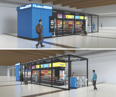 Renderings of Hudson Nonstop – the first Hudson store to implement Amazon's Just Walk Out technology (Graphic: Business Wire)