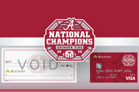 Regions customers can order the cards or checks celebrating the Tide's championship following a highly successful 2020-21 season. (Photo: Business Wire)
