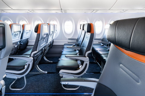 Welcome aboard JetBlue's first A220 aircraft. (Photo: Business Wire)