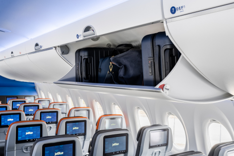JetBlue's A220 aircraft features spacious overhead bins for additional carry-on bag capacity. (Photo: Business Wire)