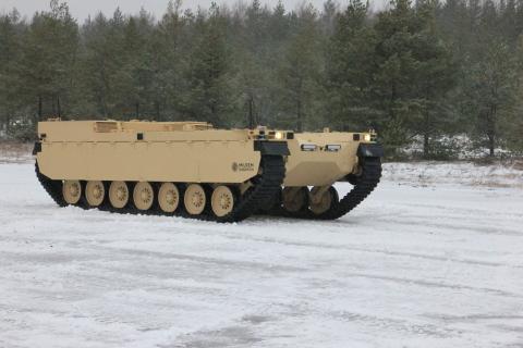 Type-X fra Milrem Robotics blir en intelligent ledsager til store panservogner og stridsvogner og stormpanservogner og er i stand til å utføre oppgaver i farlige situasjoner, noe som senker dødelighetsrisikoen. (Bilde: Business Wire)