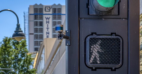 The University of Nevada, Reno's Nevada Center for Applied Research has placed Velodyne's lidar sensors at crossing signs and intersections to help improve traffic analytics, congestion management and pedestrian safety. (Photo: Velodyne Lidar, Inc.)