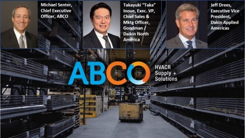 """Daikin North America LLC -- a subsidiary of Daikin Industries, Ltd. the world's largest manufacturer of heating, cooling, and refrigerant products -- announced today a strategic alignment with ABCO HVACR Supply + Solutions, the leading full line distributor of HVAC and refrigeration systems and supplies in the Northeastern United States. ABCO will begin promoting the full line of Daikin ductless, residential unitary, light commercial and commercial HVAC products, as well as controls, air quality, parts and accessories throughout their distribution footprint while continuing to fulfill existing obligations. (l-r) Mike Senter, CEO of ABCO; Takayuki """"Taka"""" Inoue, EVP and Chief Sales and Marketing Officer, Goodman / Daikin North America; and Jeff Drees, EVP, Daikin Applied Americas. (Graphic: Business Wire)"""